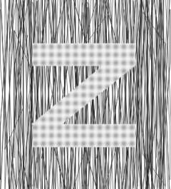 Blurred dots and sharp vertical line make image of a large Z