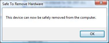 Confirmation for USB device removal
