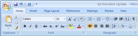 MS Office 2007 Ribbon (image from Microsoft)