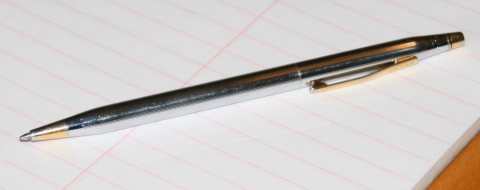 A sleek metal pen