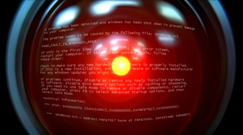 HAL 9000 suffering a blue (or red) screen of death