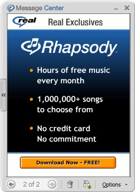 Realplayer - 'Rhapsody - Download Now FREE!'