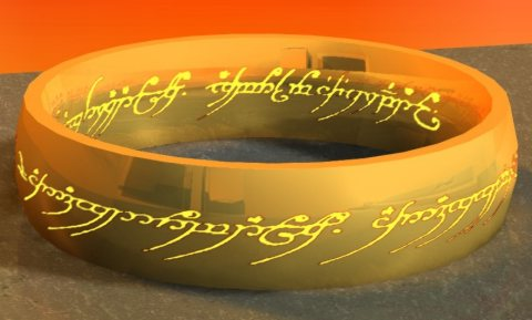 The One Ring showing its inscription